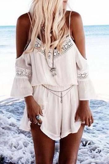 Free shipping Sexy Off The Shoulder Lace Spliced Chiffon Rompers