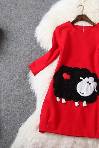 Little sheep 7 minutes of sleeve dress