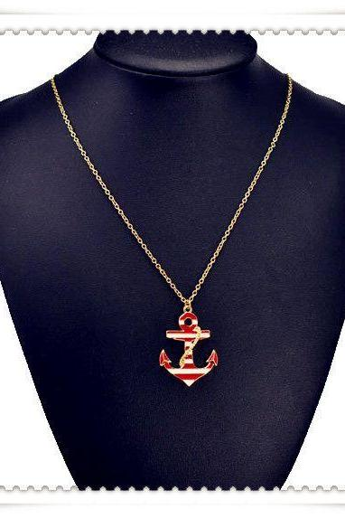 Anchor casual unisex good luck red pendant necklace
