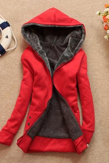 New Fashion Laconic Hooded Zipper Design Long Sleeve Thicken Fleece Jacket Coat