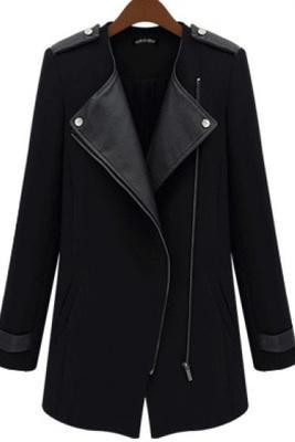Slim Windbreaker Contrast PU Leather Trims Oblique Zipper Coat