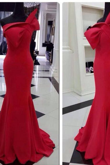 2015 Hot Sale Red Satin Mermaid Formal Prom Gown With Bow Detail