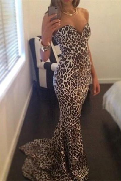 HOT LEOPARD LONG ELEGANT STRAPLESS DRESS