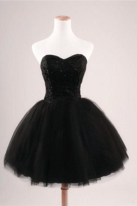 Black Strapless Ball Gown Cocktail Party Dress