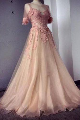 Appliques and Tulle Prom Dresses, Floor-Length Prom Dresses, Sexy Prom Dresses, Half Sleeve Prom Dresses, Charming Evening Dresses DR0123