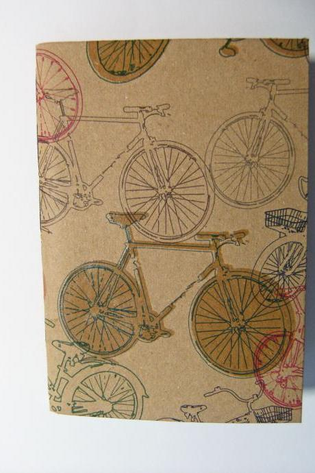 Bicycles Notebook - Moleskine style Notebook with Bicycle print covers - 6x4 ins