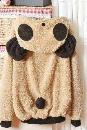 Light Khaki Lovely Panda Super Adorable Long Sleeve Cardigan Sweater
