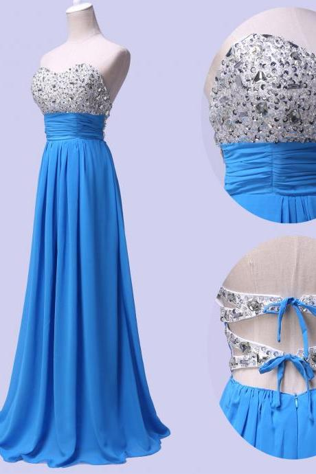 Fashion chiffon beaded full length prom Dresses evening dress Bridesmaid Dresses L118