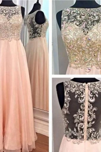 Pink Beaded Chiffon Long Prom Dresses Party Bridesmaid Dresses Women Dresses