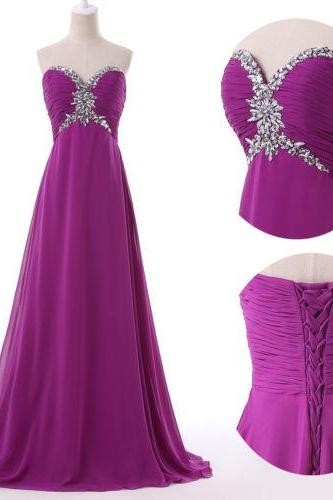 2015 fashion full length chiffon beaded prom Dresses evening dress Bridesmaid dresses custom made L154