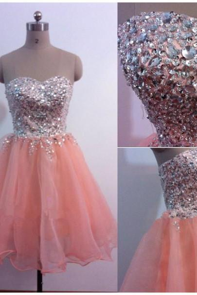 Beading Short/Mini Graduation Dresses, Real Made Party Dresses, Sweetheart Homecoming Dresses, Real Made Graduation Dresses, Evening Dresses On Sale