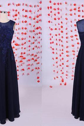 Gorgeous long prom dress,Navy blue prom dresses, chiffon prom dresses,heavy hand work evening dresses,long prom dresses,prom dresses,BD050708