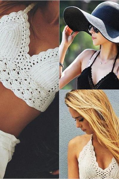 Women Vintage Crochet Crop Top New Summer Camisole Camis Sexy Hollow Out Lace Crochet Bustier Crop Tops Tees Bra Top