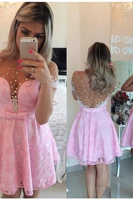 Short sleeve prom dress, pink prom dress, lovely prom dress, evening dress, handmade prom dress, keen-length prom dress, BD244