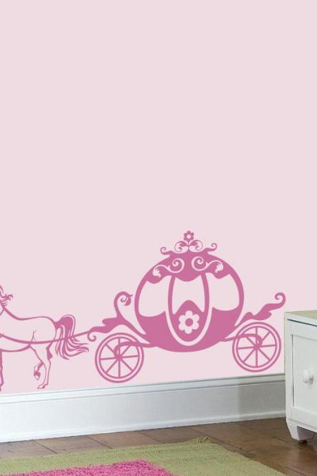 Cute Pink Chariot Princess wall decal, Unicorn Girly vinyl sticker, nursery room sticker, baby girl decal