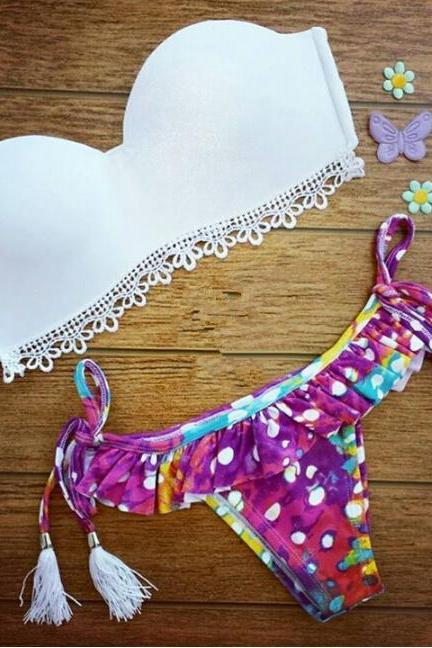 Sweet printing two-piece bikini swimsuit VG5811MN