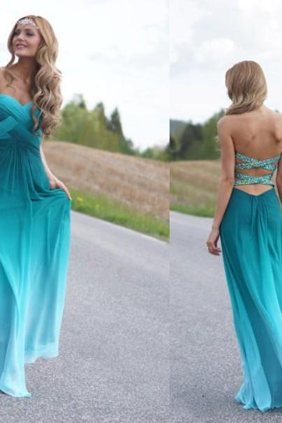 Custom Made A line Sweetheart Ombre Chiffon Bridesmaids Dresses, Prom Dresses, Long Prom Dresses, Evening Dresses, Ombre Dresses