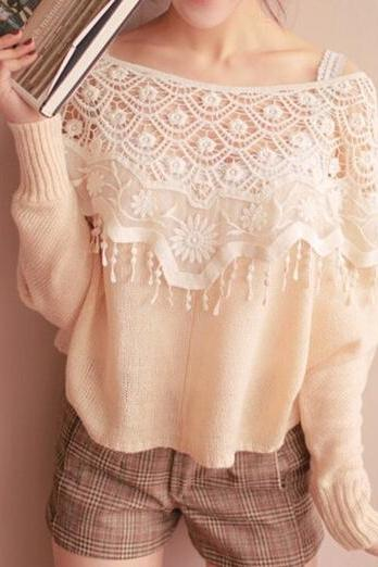 Openwork Crochet Lace Shawl Collar