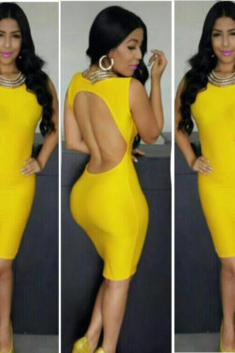 New European Style Women Fashion Backless Sleeveless O-Neck Sexy Slim Bodycon Dress