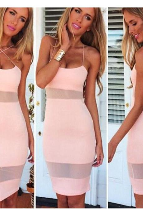 Women Sexy Slim Sleeveless Backless Sheer Mesh Stitching Cross Strap Dress Bodycon Pencil Party Dress