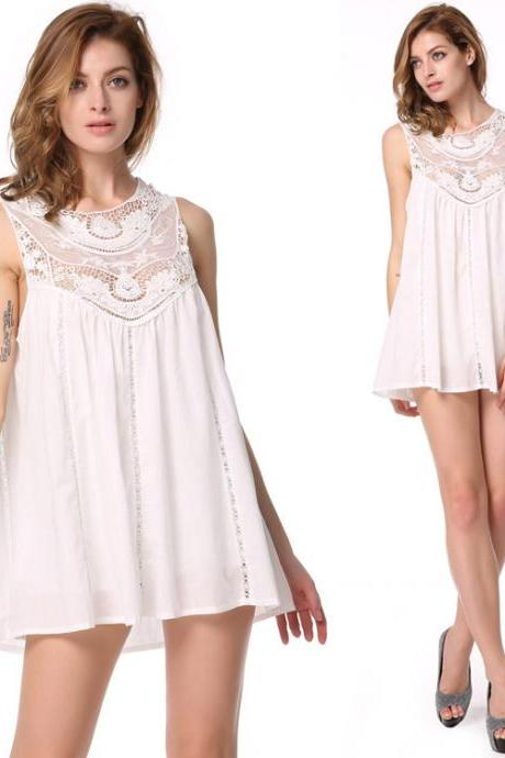 White Sleeveless Lace Shift Dress
