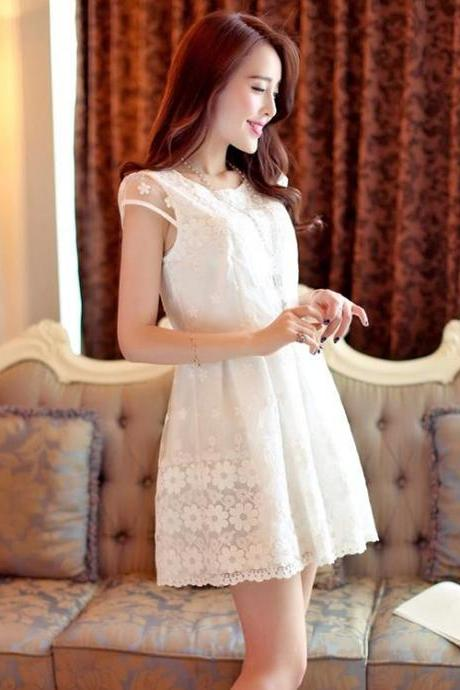 New Stylish Lady Women's Fashion Cap Sleeve O-Neck Lace Patchwork Sweet Dress