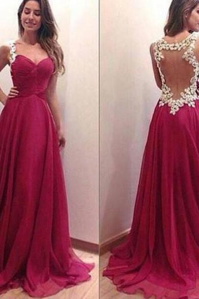 Custom Made A Line Sweetheart Neckline Dark Red Backless Prom Dresses, Formal Dresses, Evening Dresses