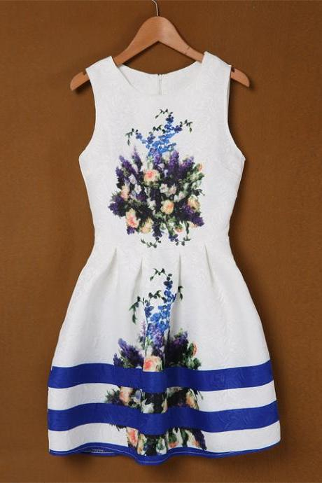 Print Slim Mini A-line Dress
