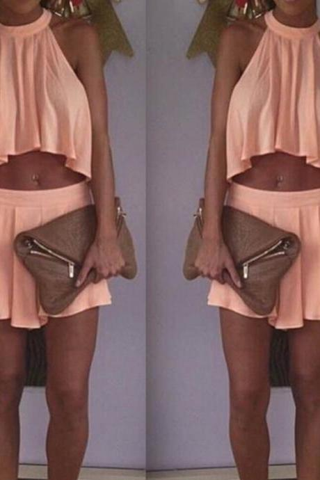 Chiffon Top Short Skirt Two Piece