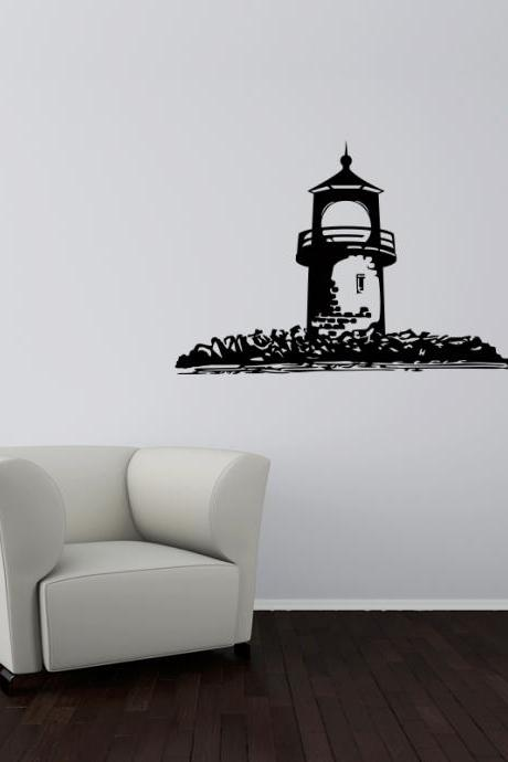 Lighthouse art sticker for Wall, nautical vinyl decals, lighthouse and rocks sticker
