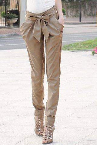 Stylish Women's Solid Color Self-Tie Harem Pants