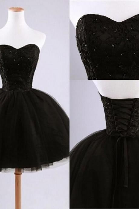 2015 Little Black Prom Dress, Short Black Ball Gown Sweetheart Prom Dresses,Black Prom Dress,Homecoming Dresses Sexy Cocktail Dresses,mini Cocktail Dresses