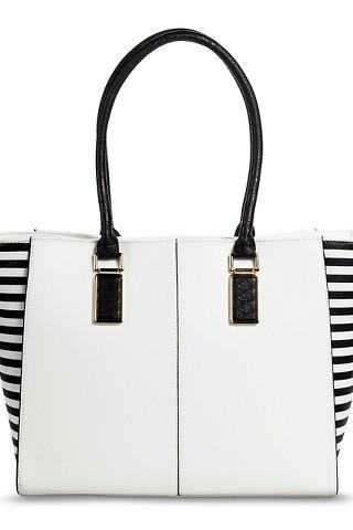 Women's Side Striped Tote Handbag - White