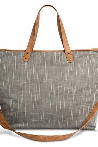 Women's Distressed Metallic Canvas Weekender Handbag - Gray