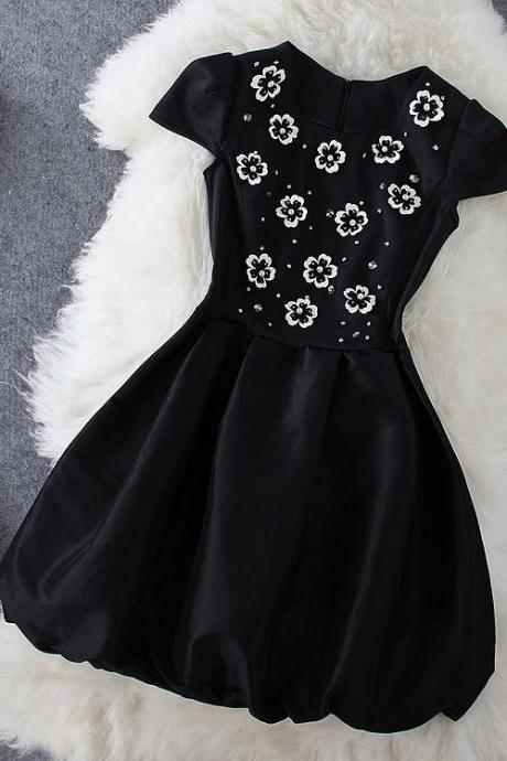 Fashion Embroidered Black Dress