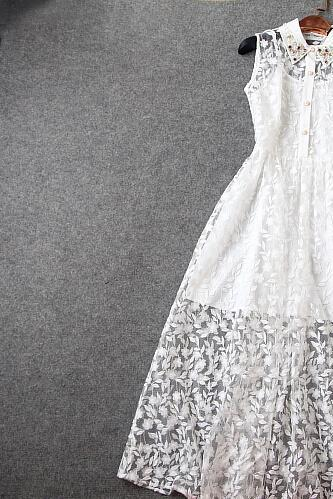 White long dress order bead embroidery cultivate one's morality dress