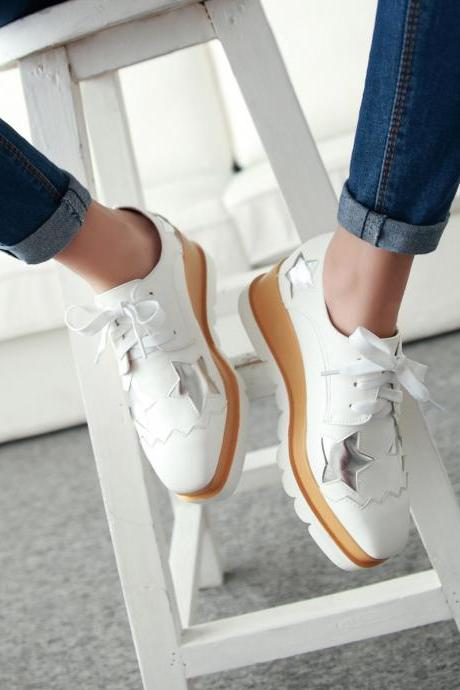 Preppy Fashion Girls Wedge Heels Lace Up Oxford Womens Platform Shoes WhiteJ011