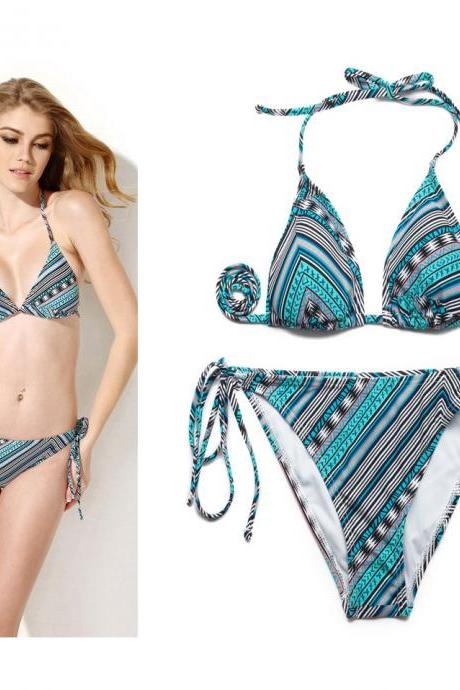 Summer Sexy Swimsuit Ethnic Foil Triangle Top with Classic Cut Bottom Bikini Swimwear 2015