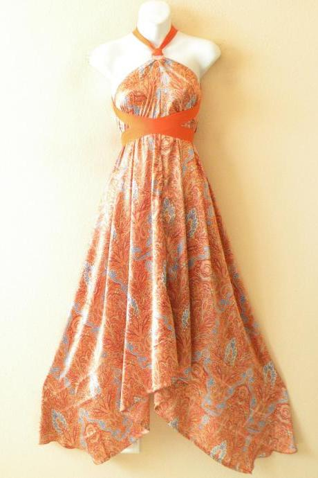 1D94 Orange Versatile Silk Multi Wear Scarf Long Maxi Halter Dress Maternity