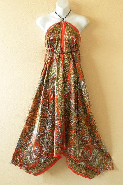 2D99 Versatile Silk Multi Wear Scarf Long Maxi Halter Dress Maternity