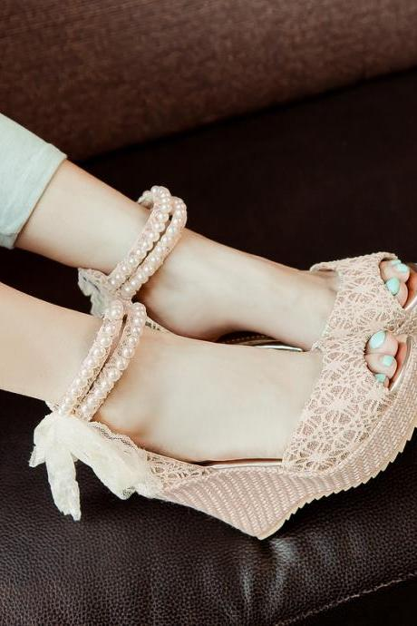 Women Rosary Lace Flowers Strap Cross Ankle Platforms Wedges Sweet Sandals Shoe X6