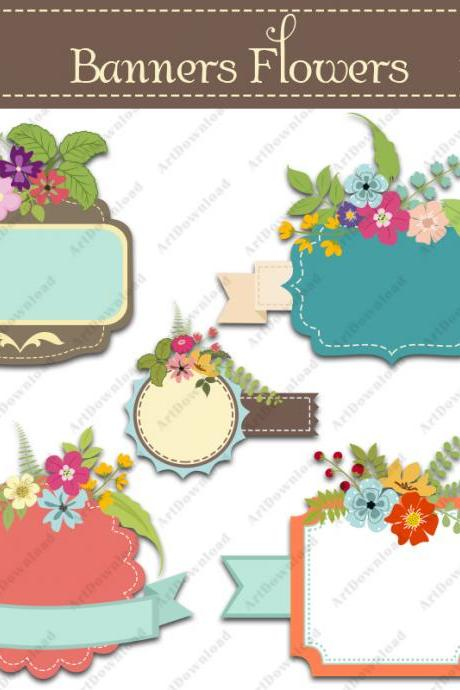 Digital floral banners - Clip art labels , Wedding bouquets, Clip art scrapbooking, Floral wedding invite, Hand drawn flowers