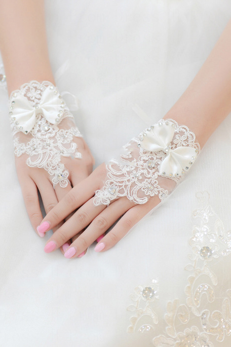 Wedding Gloves short section of the bride wedding lace bow rhinestone bridal veil lace gloves