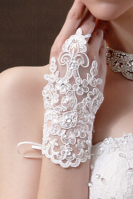 Wedding Gloves bride wedding beaded beaded lace gloves hook finger gloves wedding gloves new short section