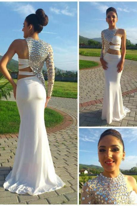 Sexy White Long Prom Dresses,2015 Mermaid One Shoulder Long Sleeve Open Waist Pageant Dresses,Chiffon Prom Gowns with Crystals
