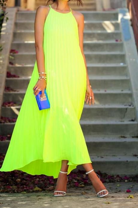 Neon Yellow Halter Neck Maxi Shift Dress