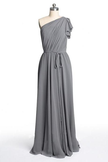 One shoulder Bridesmaid Dresses, simple Bridesmaid Dresses, long Bridesmaid Dresses, cheap Bridesmaid Dresses, grey bridesmaid dress, CM511