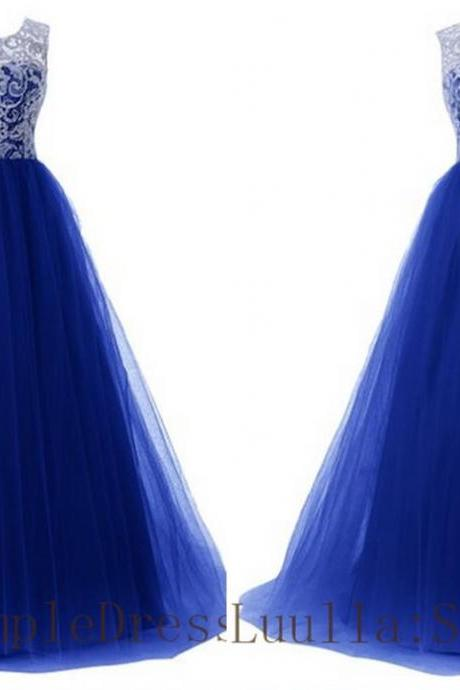 Blue A line lace tulle cap shoulder full length prom dress Bridesmaid Dresses Evening Dresses A1