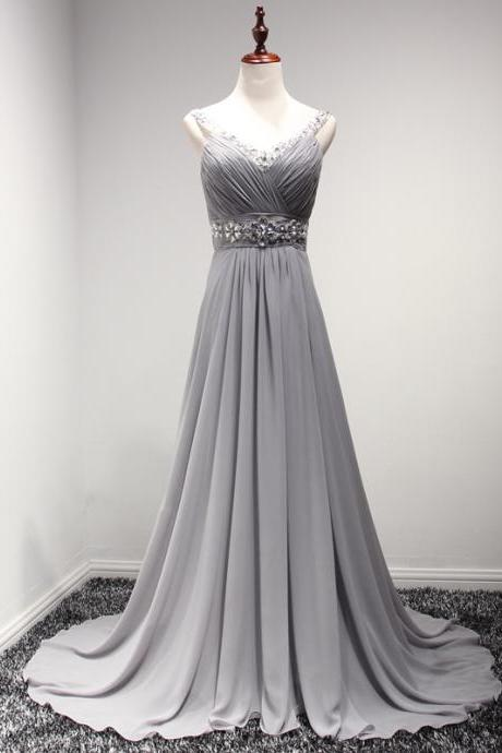 Grey Chiffon Women Evening Dresses,Long sexy Party Dresses Spaghetti Backless Beads Prom Gowns,Formal Dresses