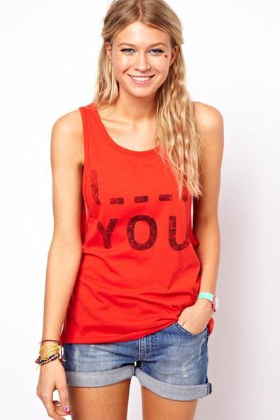 Summer new women's sweet wild casual Slim sleeveless vest alphabet